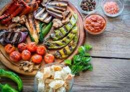 Grillede grøntsager i marinade