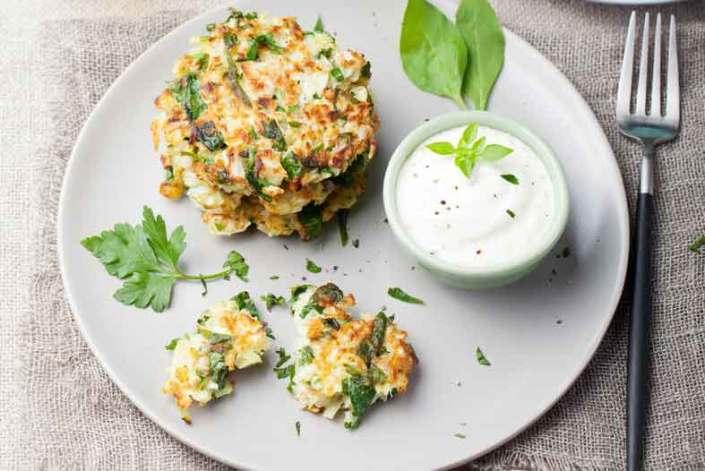 Kartoffel og spinat frikadeller