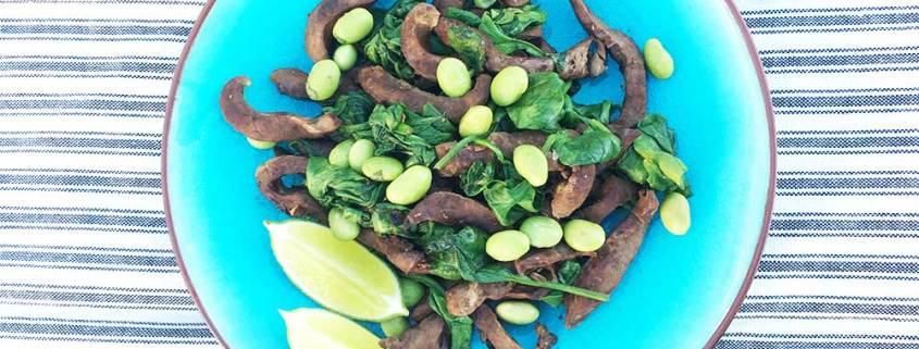Ristet svinehjerte med spinat