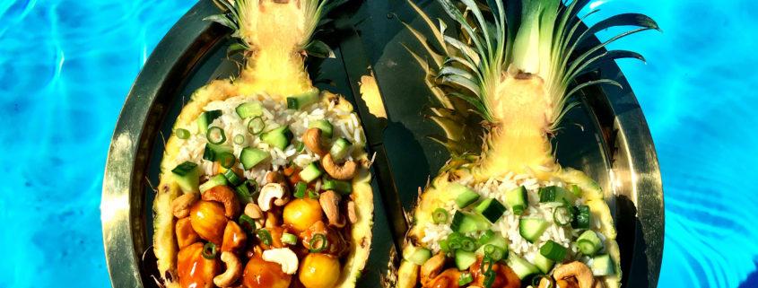 Opskrift fyldt ananas med kylling