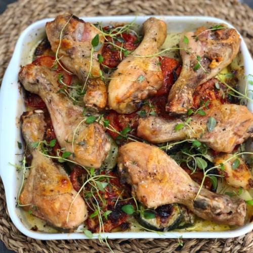 Middelhavs kartoffelfad med kylling
