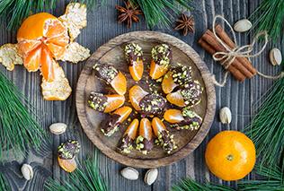 Mandariner med chokolade