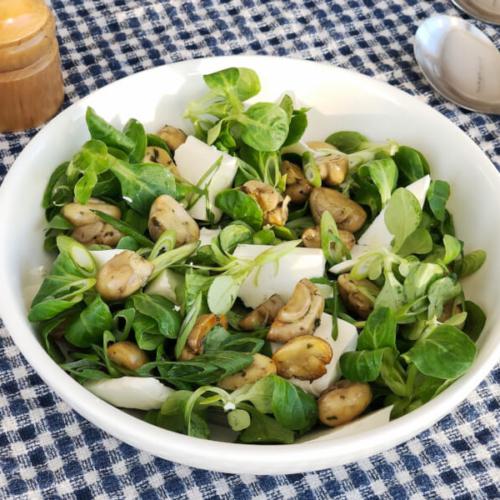 Grøn salat med champignon, feta og citron