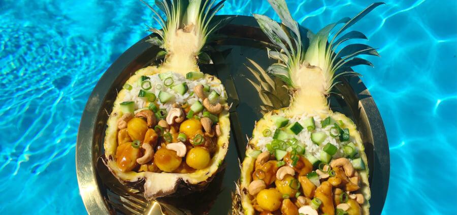 Fyldt ananas med kylling