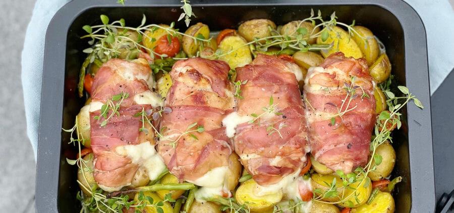 Kyllingefad med mozzerella, parmaskinke og kartofler